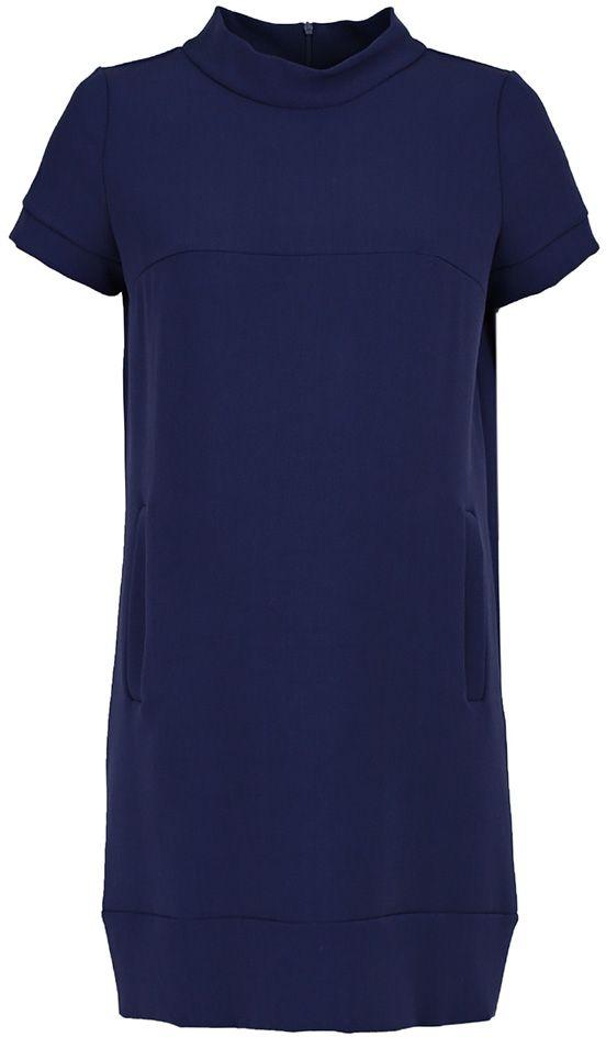 Платье для беременных Mammy Size, цвет: синий. 5301512173. Размер 445301512173Платье для беременных Mammy Size выполнено из комбинированного материала. Модель с воротником-стойкой и короткими рукавами застегивается на молнию.
