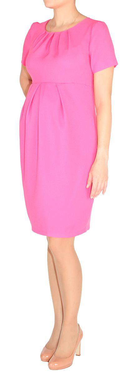 Платье для беременных Mammy Size, цвет: фуксия. 5123512175. Размер 505123512175Платье для беременных Mammy Size классического фасона выполнено из полиэстера. Модель приталенного кроя и выделенное складками на животике.