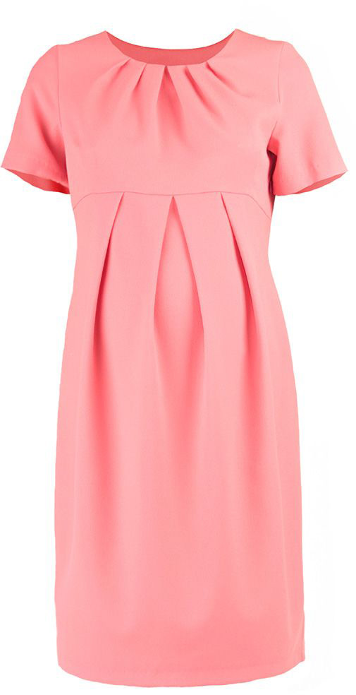 Платье для беременных Mammy Size, цвет: светло-розовый. 5123512177. Размер 505123512177Платье для беременных Mammy Size выполнено из полиэстера. Модель классического фасона, приталенное и выделенное складками на животике.