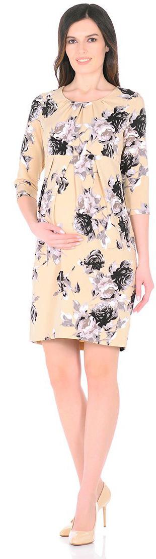 Платье для беременных Mammy Size, цвет: бежевый. 5121512172. Размер 465121512172Нежное платье Mammy Size, классического фасона , приталенное и выделенное складками на животике.
