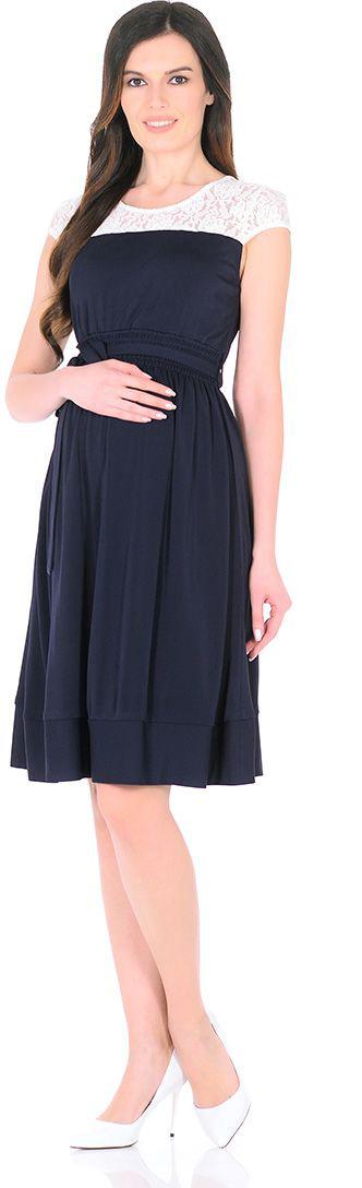 Платье для беременных Mammy Size, цвет: синий. 5035522173. Размер 465035522173Платье для беременных Mammy Size выполнено из полиэстера. Элегантное платье с кружевом и пайетками.