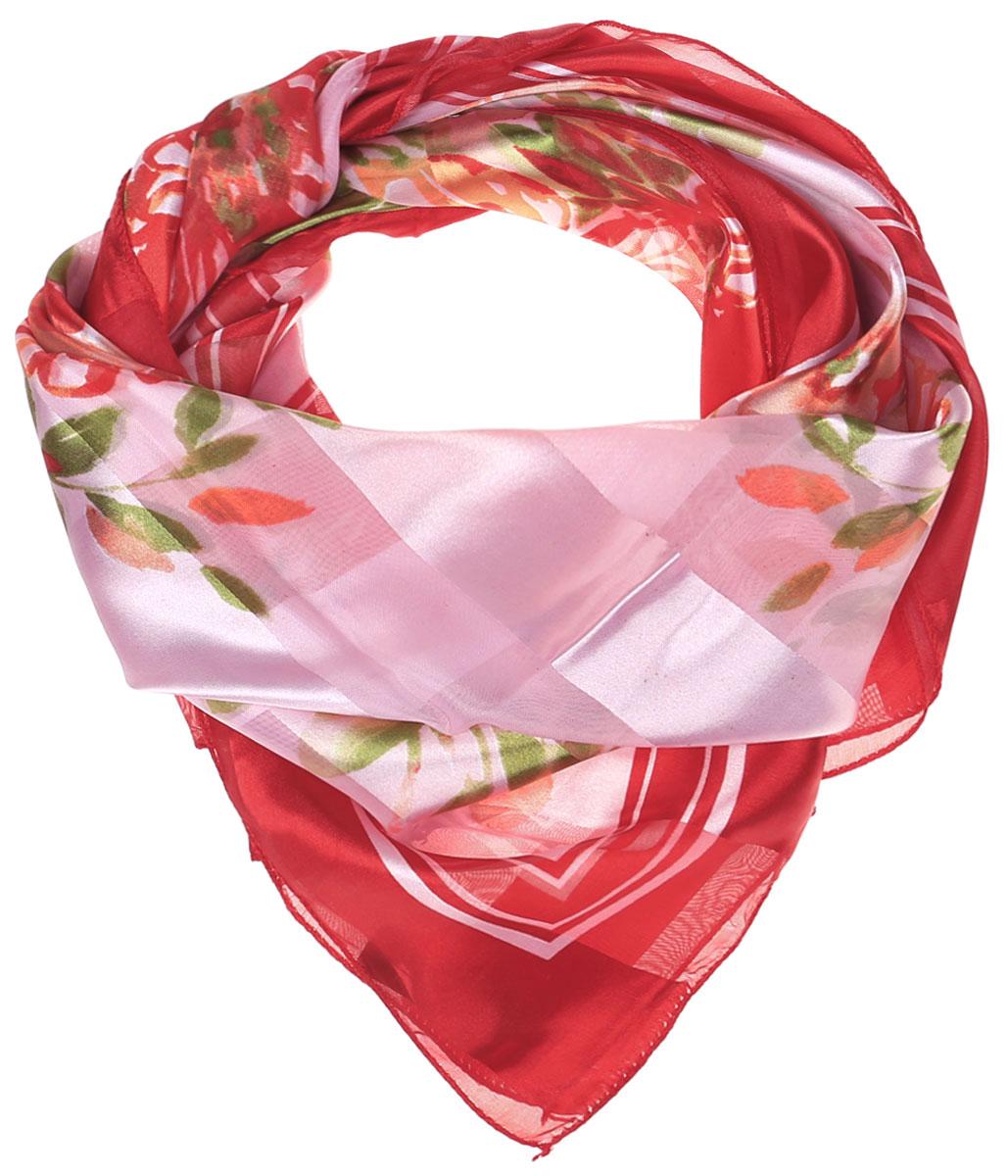 Платок женский Vittorio Richi, цвет: красный, розовый, салатовый. Ro0118-12-1. Размер 95 см х 95 смRo0118-12-1Стильный женский платок Vittorio Richi изготовлен из высококачественного полиэстера с добавлением шелка. Платок оформлен эффектом деворе полоса и оригинальным цветочным принтом. Отделка краев - оверлок.