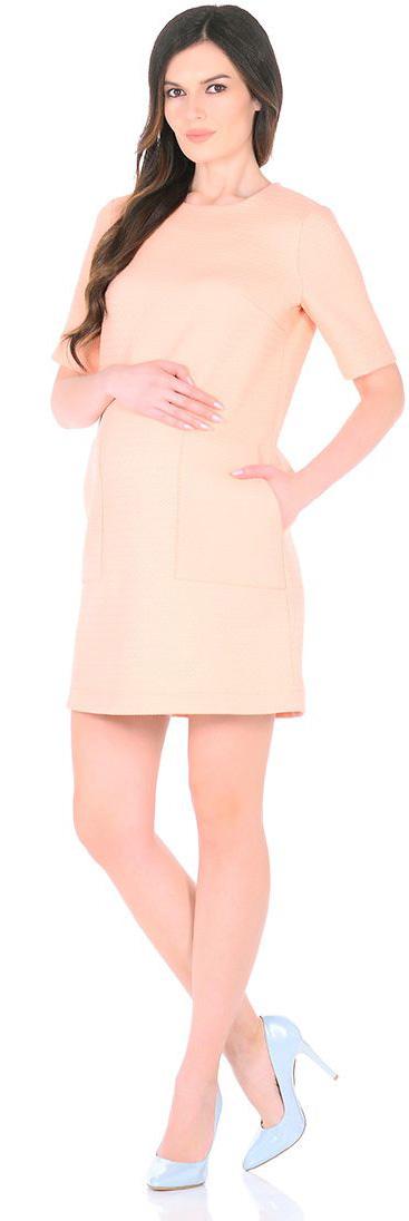 Платье для беременных Mammy Size, цвет: персиковый. 3030512176. Размер 443030512176Платье для беременных Mammy Size выполнено из полиэстера. Модель с круглым вырезом горловины и короткими рукавами сзади застегивается на молнию.
