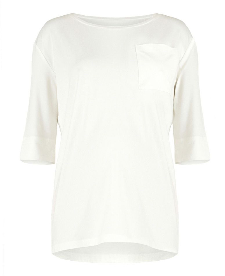 Блузка для беременных Mammy Size, цвет: молочный. 0709292170. Размер 460709292170Блузка для беременных Mammy Size выполнена из вискозы и лайкры. Модель с круглым вырезом горловины и рукавами 3/4.