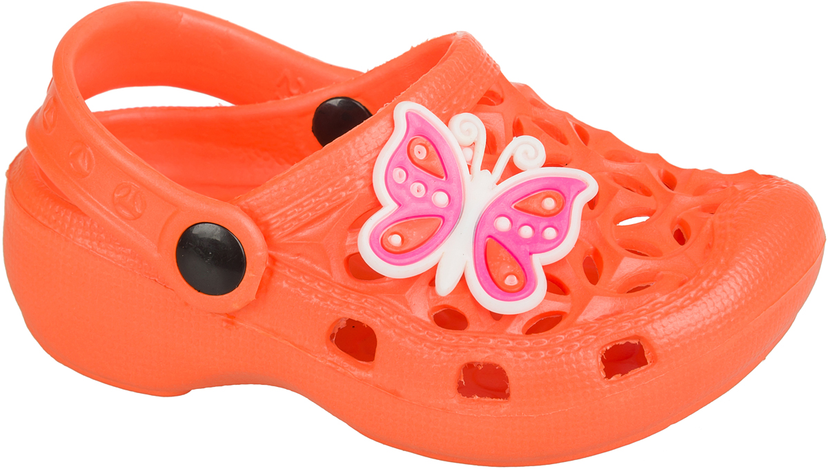 Шлепанцы для девочки Mursu, цвет: оранжевый. 101385. Размер 26101385Удобные кроксы Mursu незаменимы для пляжного сезона. Легкая модель полностью выполнена из качественного полимерного материала. У кроксов имеется подвижный ремешок с пластиковыми кнопками. Носочная часть оформлена оригинальным декоративным элементом в виде бабочки. Большое количество дырочек в верхней части обуви обеспечивает вентиляцию ноги.
