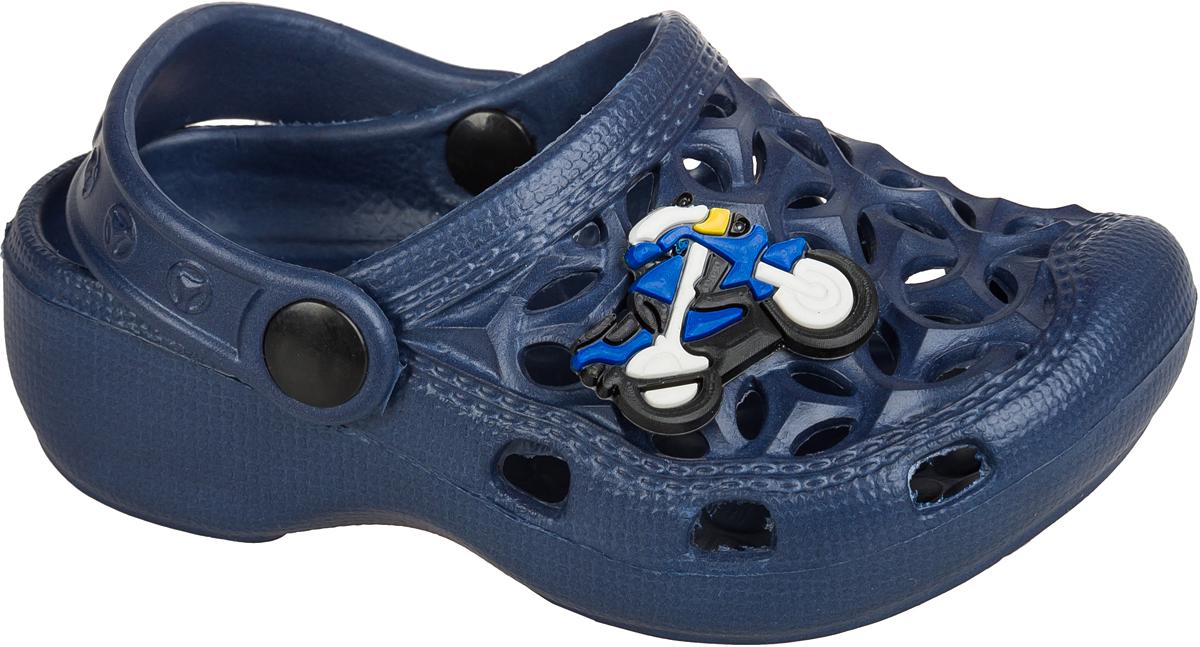 Шлепанцы для мальчика Mursu, цвет: темно-синий. 101388. Размер 29101388Удобные кроксы Mursu незаменимы для пляжного сезона. Легкая модель полностью выполнена из качественного полимерного материала. У кроксов имеется подвижный ремешок с пластиковыми кнопками. Носочная часть оформлена оригинальным декоративным элементом. Большое количество дырочек в верхней части обуви обеспечивает вентиляцию ноги.