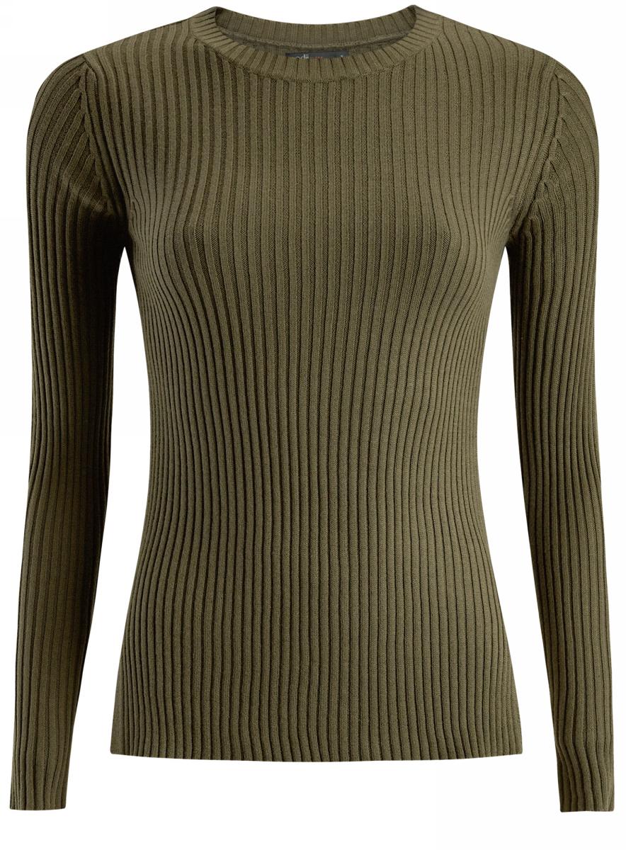 Джемпер женский oodji Ultra, цвет: темно-зеленый. 63810230/45633/6900N. Размер M (46)63810230/45633/6900NДжемпер облегающий вязаный в резинку с длинными рукавами и круглым вырезом горловины.