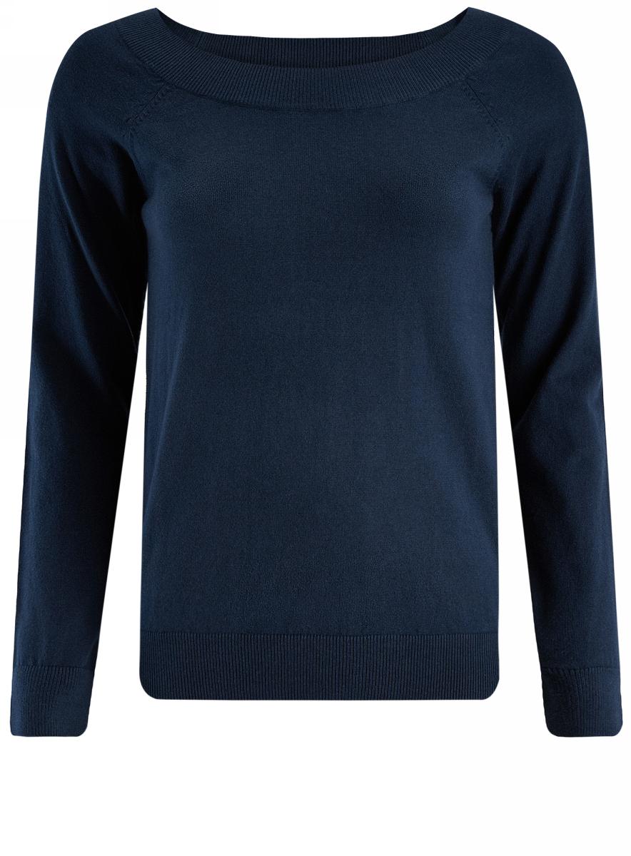 Джемпер женский oodji Ultra, цвет: темно-синий. 63812571/45576/7900N. Размер S (44)63812571/45576/7900NУютный женский джемпер с вырезом горловины лодочка и длинными рукавами-реглан выполнен из хлопковой пряжи.