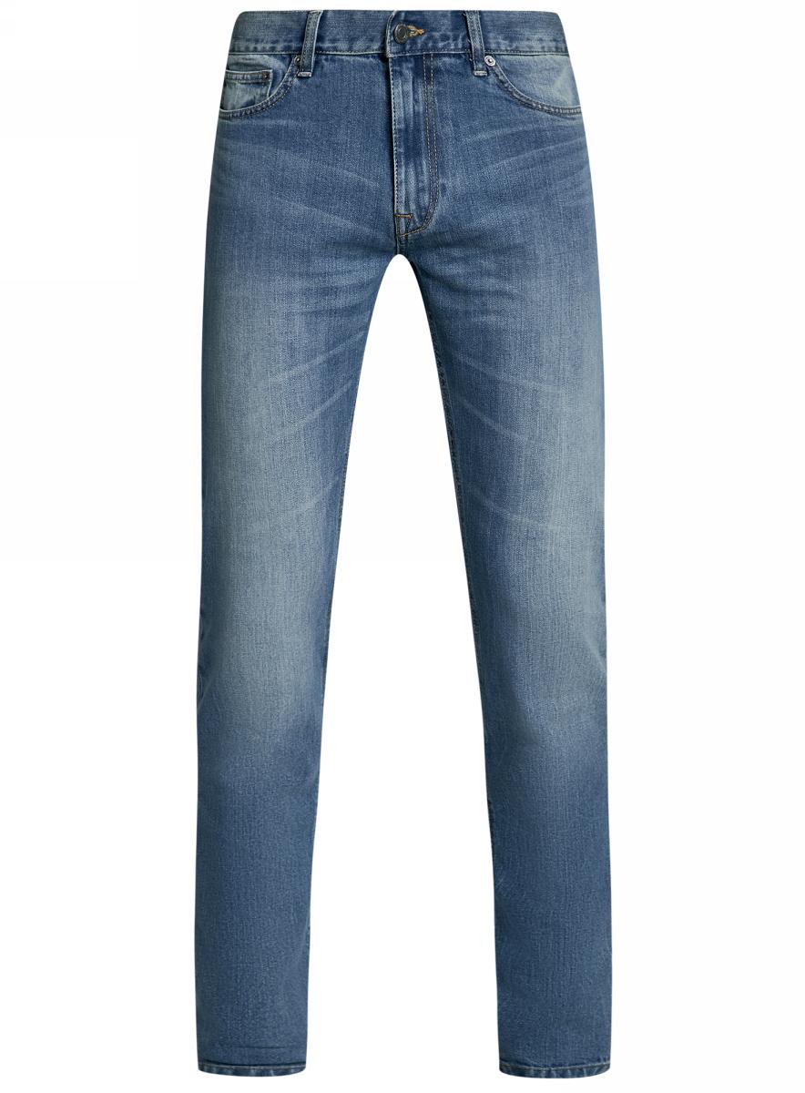 Джинсы мужские oodji Basic, цвет: голубой джинс. 6B120046M/46627/7400W. Размер 31-34 (48-34)6B120046M/46627/7400WМужские джинсы oodji Basic выполнены из высококачественного материала. Модель средней посадки по поясу застегивается на пуговицу и имеют ширинку на застежке-молнии, а также шлевки для ремня. Джинсы имеют классический пятикарманный крой: спереди - два втачных кармана и один маленький накладной, а сзади - два накладных кармана.