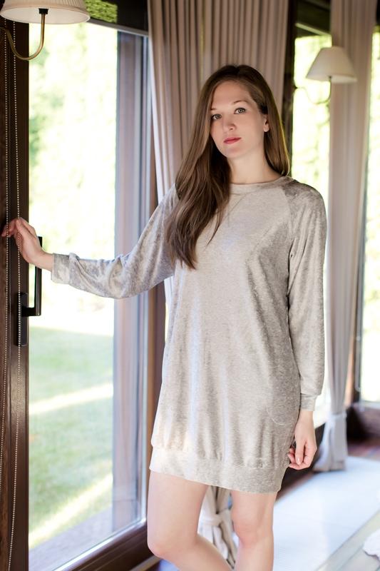 Платье домашнее Marusя, цвет: серый меланж. 160029. Размер S (44)160029Домашнее платье Marusя изготовлено из качественной смесовой ткани. Модель длины мини оформлена эластичными резинками на рукавах и по низу ткани.