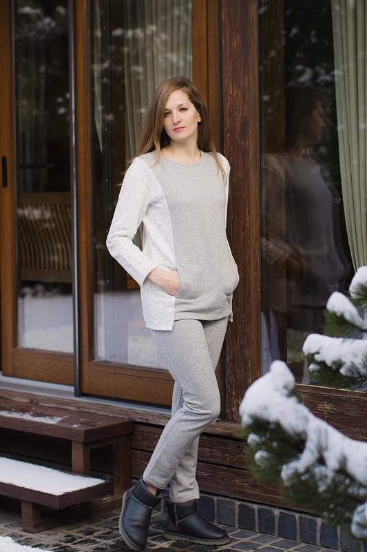 Комплект домашний женский Marusя: кофта, брюки, цвет: серый. 166002. Размер L (48)166002