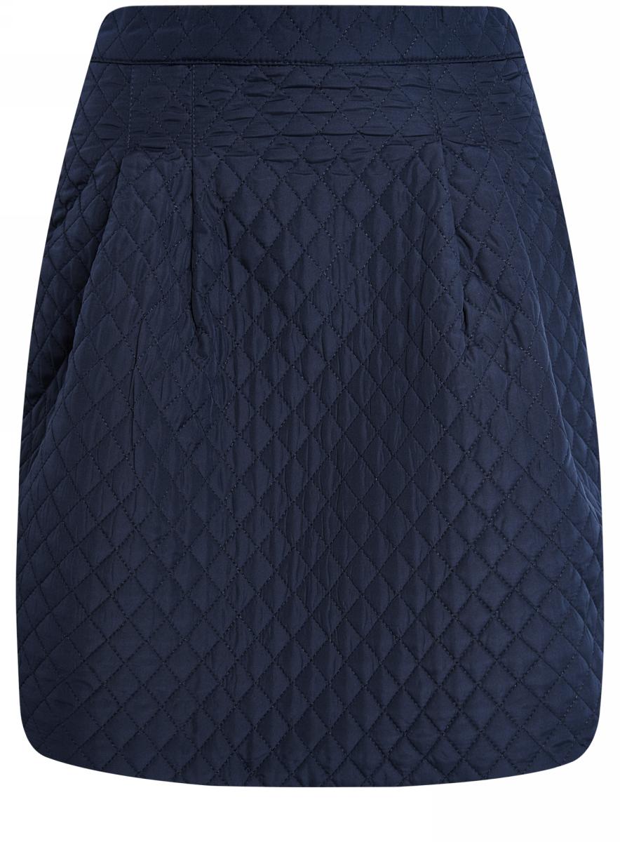 Юбка oodji Ultra, цвет: темно-синий. 11600360-1/38325/7900N. Размер 36-170 (42-170)11600360-1/38325/7900NСтеганая расклешенная юбка выполнена из фактурной ткани. Сзади модель застегивается на застежку-молнию.