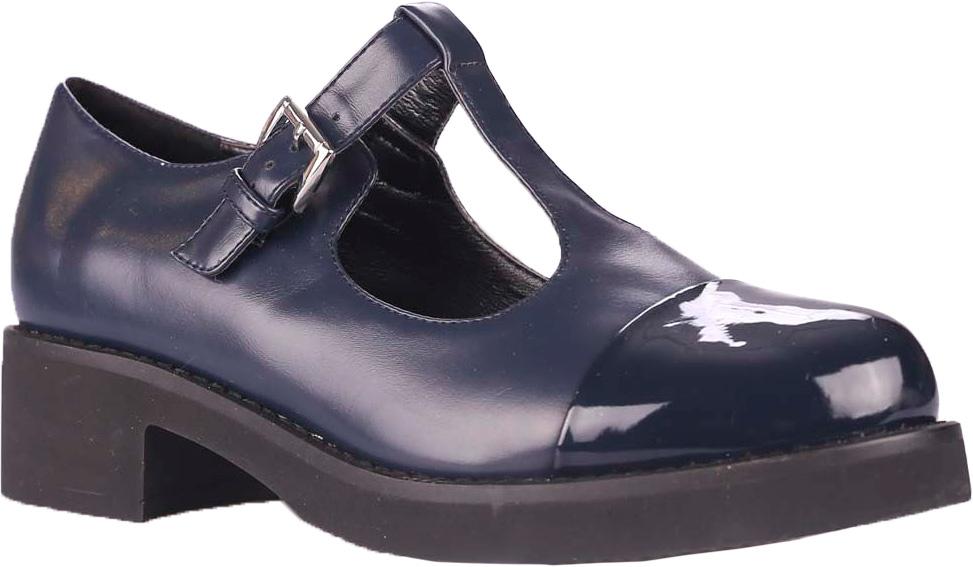 Туфли женские Vitacci, цвет: синий. 39494. Размер 4039494Комфортные и практичные туфли Vitacci - отличный вариант на каждый день. Модель выполнена из качественной искусственной кожи. Ремешок с металлической пряжкой надежно зафиксирует модель на ноге. Подошва выполнена с широким низким каблуком.