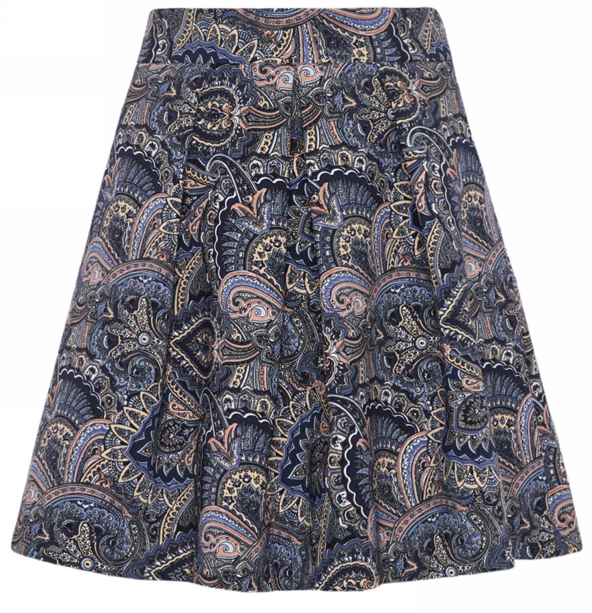 Юбка oodji Ultra, цвет: синий, бежевый. 11600396-2/45559/7533E. Размер 34-170 (40-170)11600396-2/45559/7533EРасклешенная юбка со встречными складками выполнена из высококачественного материала с этническим рисунком. Модель застегивается на потайную застежку-молнию.
