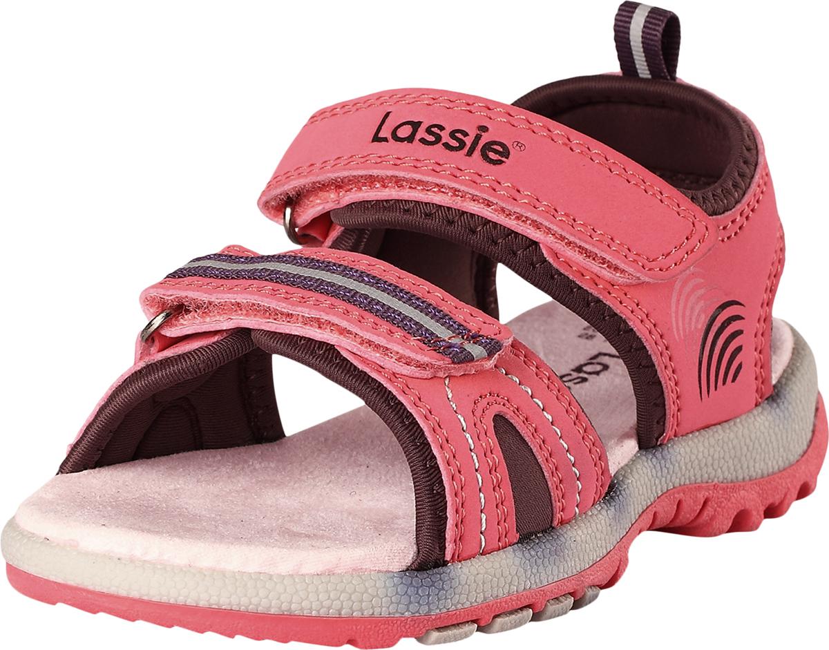 Сандалии детские Lassie Marle, цвет: розовый. 7691063290. Размер 287691063290Детские летние сандалии из прочного и простого в уходе синтетического материала. Благодаря двум ремешкам на липучке, эти модные детские сандалии легко надевать и легко отрегулировать нужный размер. Стелька из микрофибры позволяет надевать сандалии даже без носков. Снабжены удобной и дышащей лайкровой подкладкой, а подошва из термопластичной резины обеспечивает хорошее сцепление на любой поверхности. Светоотражающие детали помогут лучше разглядеть ребенка в темное время суток.