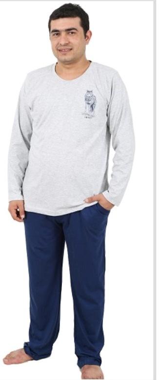 Комплект домашний мужской Vienettas Secret: лонгслив, брюки, цвет: серый, синий. 406051 4601. Размер XL (50/52)406051 4601Мужской домашний комплект Vienettas Secret состоит из лонгслива и брюк. Комплект выполнен из 100% натурального хлопка. Лонгслив имеет круглый вырез горловины и длинные рукава. Брюки свободного кроя снабжены резинкой на талии. Комплект выполнен в двухцветном дизайне, а лонгслив дополнен изображением волка.