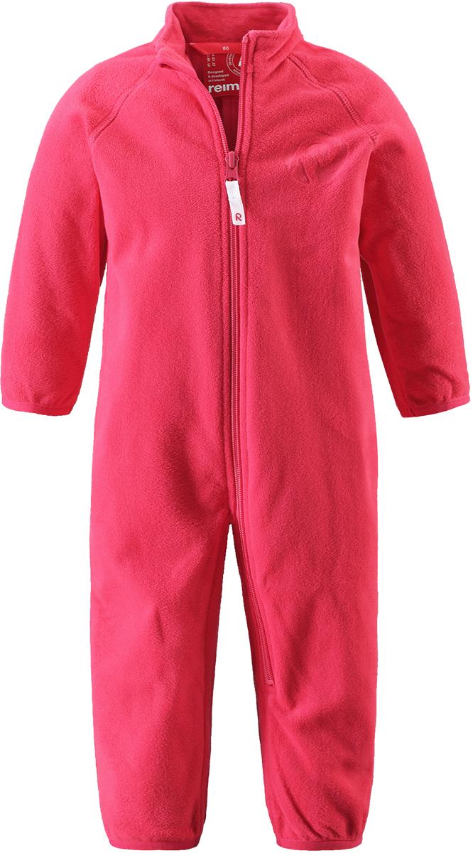 Комбинезон флисовый детский Reima Kiesu, цвет: ярко-розовый. 5162873360. Размер 685162873360Комбинезон для малышей изготовлен из высококачественного флиса - теплого, легкого и быстросохнущего материала. Комбинезон совместим с одеждой из серии Play Layers его можно пристегнуть к комбинезонам, оснащенным кнопками Play Layers. Зимой он будет самой удобной одеждой промежуточного слоя, а в теплое время года послужит отличной верхней одеждой. Молния во всю длину поможет вам легко одеть вашего ребенка в этот теплый и удобный флисовый комбинезон.