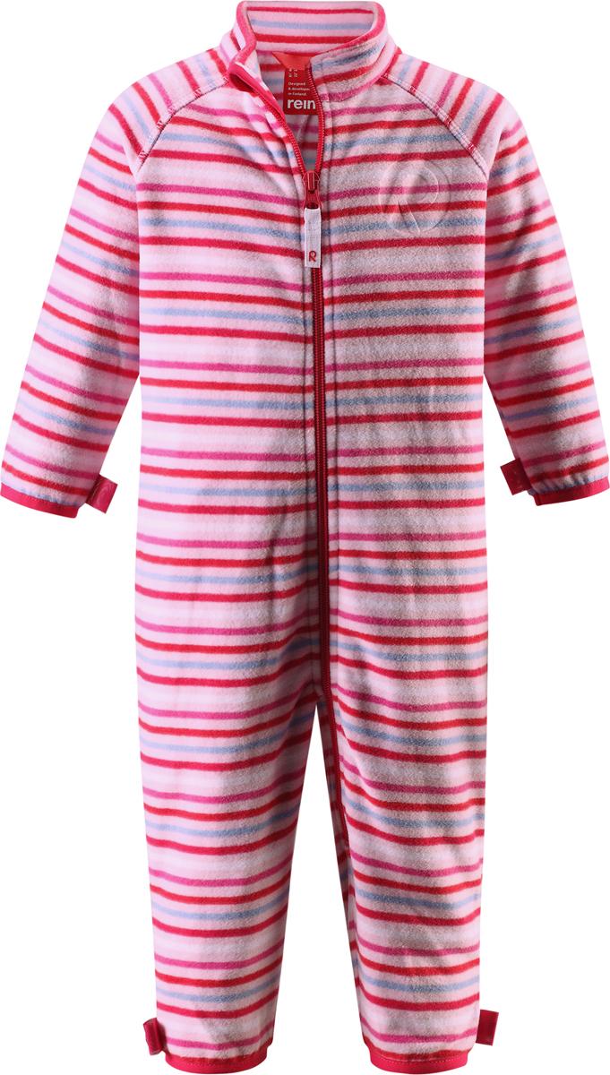 Комбинезон флисовый детский Reima Kiesu, цвет: розовый. 5162874011. Размер 985162874011Комбинезон для малышей изготовлен из высококачественного флиса - теплого, легкого и быстросохнущего материала. Комбинезон совместим с одеждой из серии Play Layers его можно пристегнуть к комбинезонам, оснащенным кнопками Play Layers. Зимой он будет самой удобной одеждой промежуточного слоя, а в теплое время года послужит отличной верхней одеждой. Молния во всю длину поможет вам легко одеть вашего ребенка в этот теплый и удобный флисовый комбинезон.