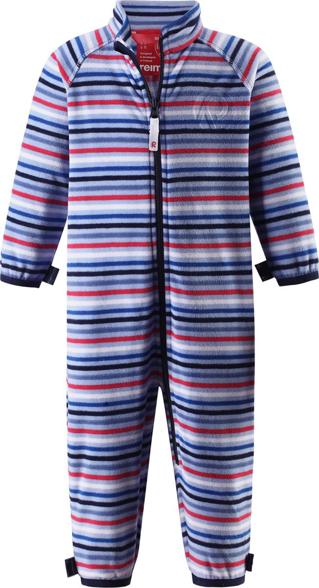 Комбинезон флисовый детский Reima Kiesu, цвет: синий. 5162876144. Размер 685162876144Комбинезон для малышей изготовлен из высококачественного флиса - теплого, легкого и быстросохнущего материала. Комбинезон совместим с одеждой из серии Play Layers его можно пристегнуть к комбинезонам, оснащенным кнопками Play Layers. Зимой он будет самой удобной одеждой промежуточного слоя, а в теплое время года послужит отличной верхней одеждой. Молния во всю длину поможет вам легко одеть вашего ребенка в этот теплый и удобный флисовый комбинезон.
