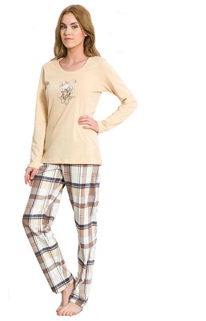Комплект домашний женский Vienettas Secret: лонгслив, брюки, цвет: бежевый. 604054 4305. Размер L (48)604054 4305Женский домашний комплект Vienettas Secret состоит из лонгслива и брюк. Комплект выполнен из 100% натурального хлопка. Лонгслив имеет круглый вырез горловины и длинные рукава, на груди модель дополнена забавным рисунком. Брюки имеют свободный крой и резинку на талии, дополнены принтом в клетку.