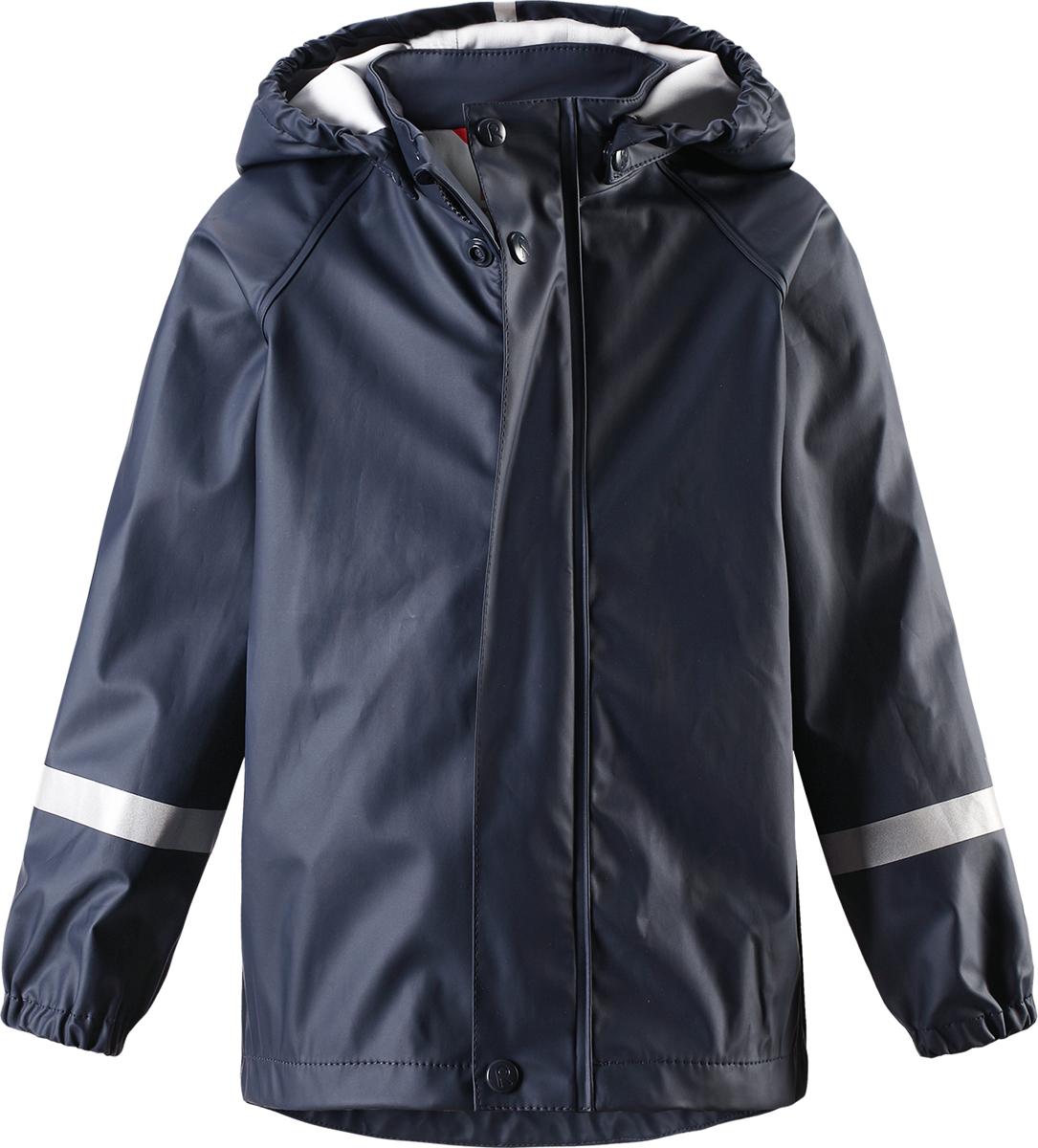 Куртка-дождевик детская Reima Lampi, цвет: синий. 5214916980. Размер 1285214916980Детская куртка-дождевик Lampi стильно смотрится и гарантирует защиту от дождя. Эластичный материал не деревенеет на морозе, поэтому этот дождевик можно носить круглый год просто добавьте в холодную погоду теплый промежуточный слой. Съемный капюшон защитит даже от ливня, при этом он безопасен во время прогулок в дождливый день. В туманный день или в темное время суток светоотражатели будут просто незаменимы. Материал сертифицирован по стандарту Oeko-Tex и не содержит ПВХ.