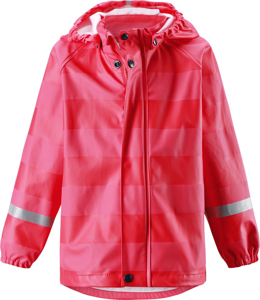 Куртка-дождевик детская Reima Vesi, цвет: красный. 5214923722. Размер 1105214923722Классический детский дождевик Reima в ярких однотонных расцветках и в яркую полоску. Запаянные швы не пропустят вовнутрь ни одной капельки, а съемный капюшон защищает голову от дождя, он на кнопках, поэтому безопасен во время игр на свежем воздухе. В туманный день или в темное время суток светоотражатели будут просто незаменимы. Эластичная детская куртка-дождевик изготовлена и безопасного материала, не содержащего ПВХ и сертифицированного по стандарту Oeko-Tex. Этот материал не деревенеет на морозе, поэтому дождевик отлично послужит вам и зимой. Обратите внимание, что с помощью удобной системы кнопок Play Layers к куртке можно присоединять разнообразную одежду промежуточного слоя Reima.