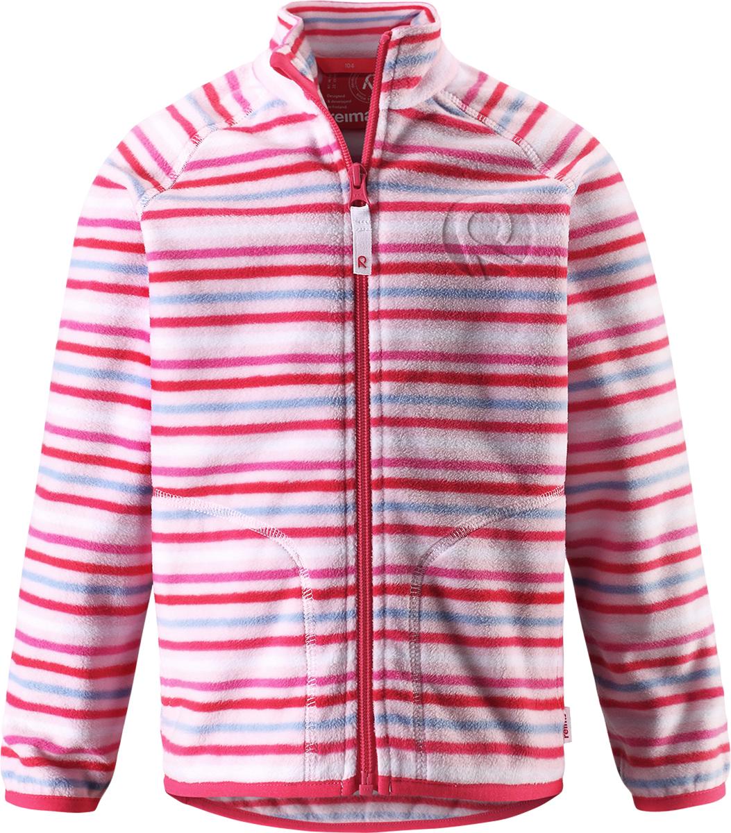 Толстовка флисовая детская Reima Inrun, цвет: розовый, белый. 5262504011. Размер 1285262504011Детская флисовая толстовка Reima на прохладный день. Можно использовать как верхнюю одежду в сухую погоду весной и осенью или поддевать в качестве промежуточного слоя в холода. Обратите внимание на удобную систему кнопок Play Layers, с помощью которой легко присоединить кофту к одежде из серии Reima Play Layers и обеспечить ребенку дополнительное тепло и комфорт. Высококачественный флис - это теплый, легкий и быстросохнущий материал, он идеально подходит для активных прогулок. Удлиненная спинка обеспечивает дополнительную защиту для поясницы, а молния во всю длину с защитой для подбородка облегчает надевание.