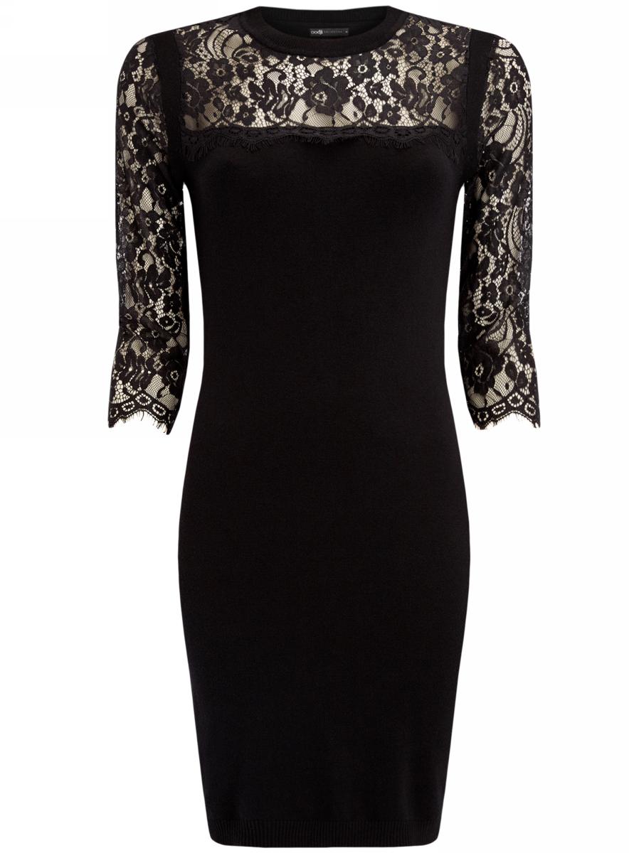 Платье oodji Collection, цвет: черный. 73912206-1/40022/2900N. Размер XS (42-170)73912206-1/40022/2900NКомбинированное платье oodji Collection - стильный вариант не только для офиса, но и для любого мероприятия. Облегающее платье, выгодно подчеркивающее достоинства фигуры, выполнено из мягкоготрикотажа с кружевными рукавами.