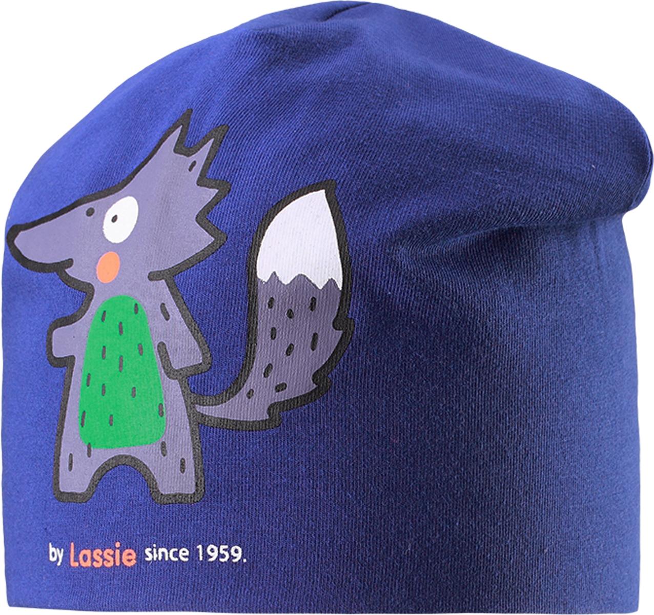 Шапка детская Lassie, цвет: синий. 7187176690. Размер 46/487187176690Базовая шапка для малышей с забавным рисунком в лисички. Шапка сделана из легкого и удобного джерси на полной трикотажной подкладке из гладкого дышащего смесового хлопка. Она снабжена рисунком сбоку и светоотражающей эмблемой на заднем шве.