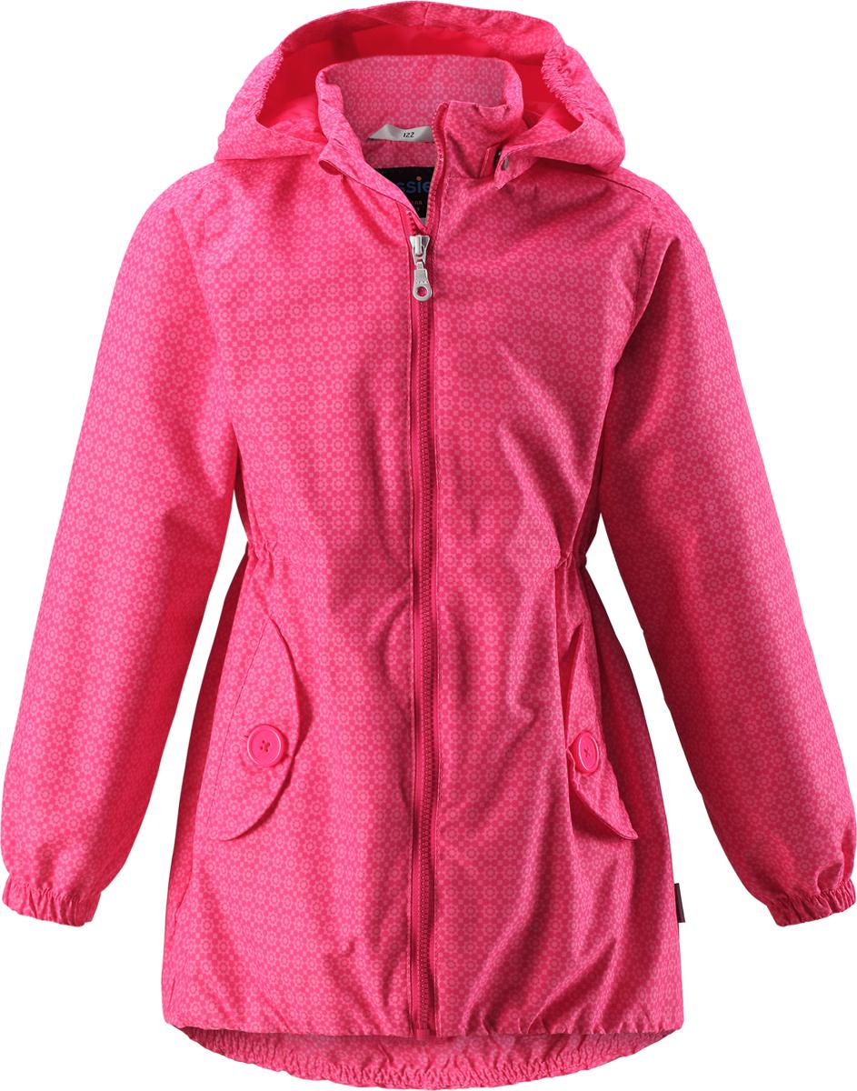 Куртка для девочки Lassie, цвет: розовый. 721706R340. Размер 98721706R340Легкая и удобная куртка для девочек на весенне-осенний период. Она изготовлена из водоотталкивающего и ветронепроницаемого материала, но при этом хорошо дышит. Куртка снабжена дышащей и приятной на ощупь сетчатой подкладкой, которая облегчает надевание. Съемный капюшон обеспечивает защиту от холодного ветра, а также безопасен во время игр на свежем воздухе! Благодаря эластичной талии и эластичному подолу эта удлиненная модель для девочек отлично сидит по фигуре. Снабжена множеством продуманных деталей, например двумя карманами с клапанами, эластичными манжетами и молнией во всю длину с защитой для подбородка.