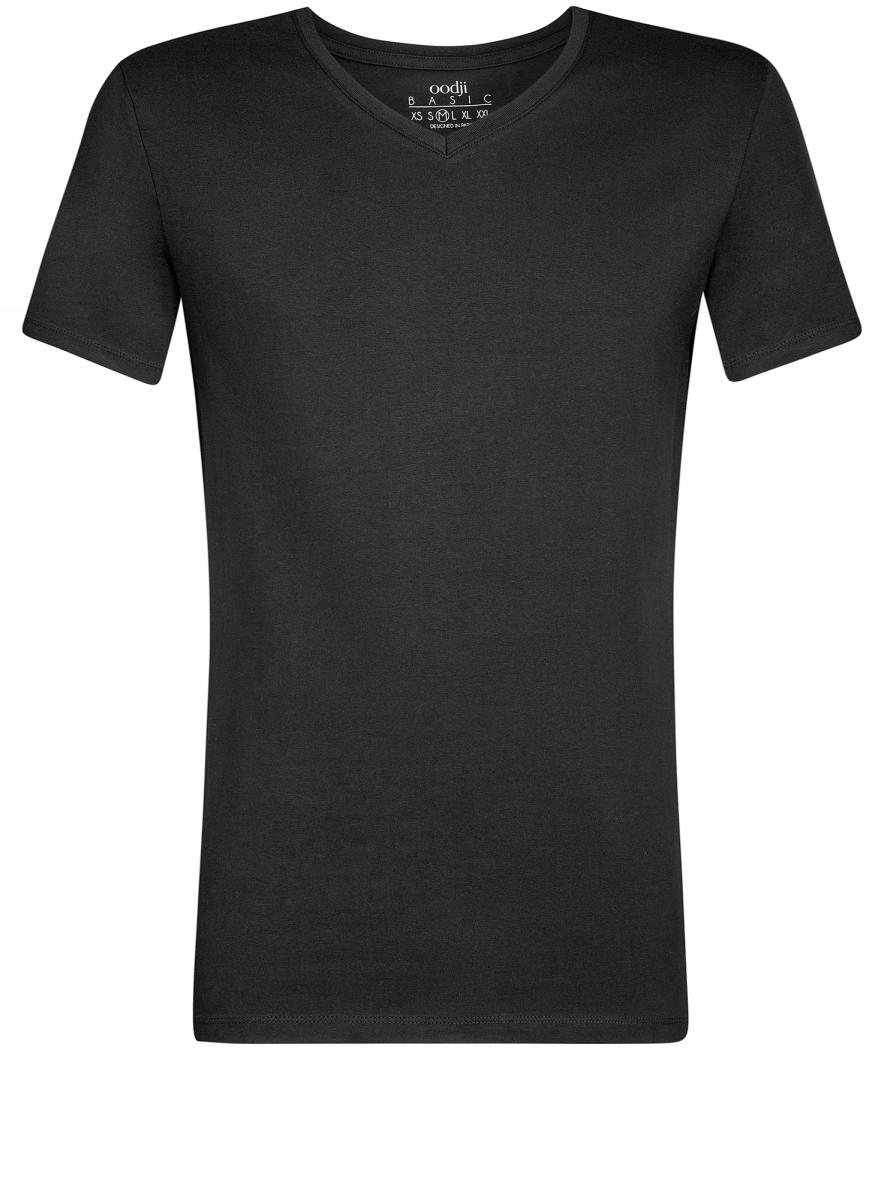 Футболка мужская oodji Basic, цвет: черный. 5B612002M/39230N/2900N. Размер S (46/48)5B612002M/39230N/2900NБазовая футболка с V-образным вырезом горловины и короткими рукавами выполнена из эластичного хлопка.