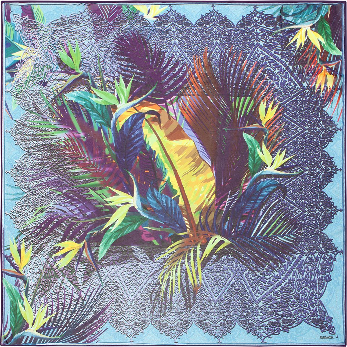 Платок женский Eleganzza, цвет: синий. D02-1198. Размер 110 см х 110 смD02-1198Платок Eleganzza, выполненный из шелка, идеально дополнит образ современной женщины. Модель оформлена растительным принтом. Классическая квадратная форма позволяет носить платок на шее, украшать им прическу или декорировать сумочку. С таким аксессуаром вы всегда будете выглядеть стильно и модно.