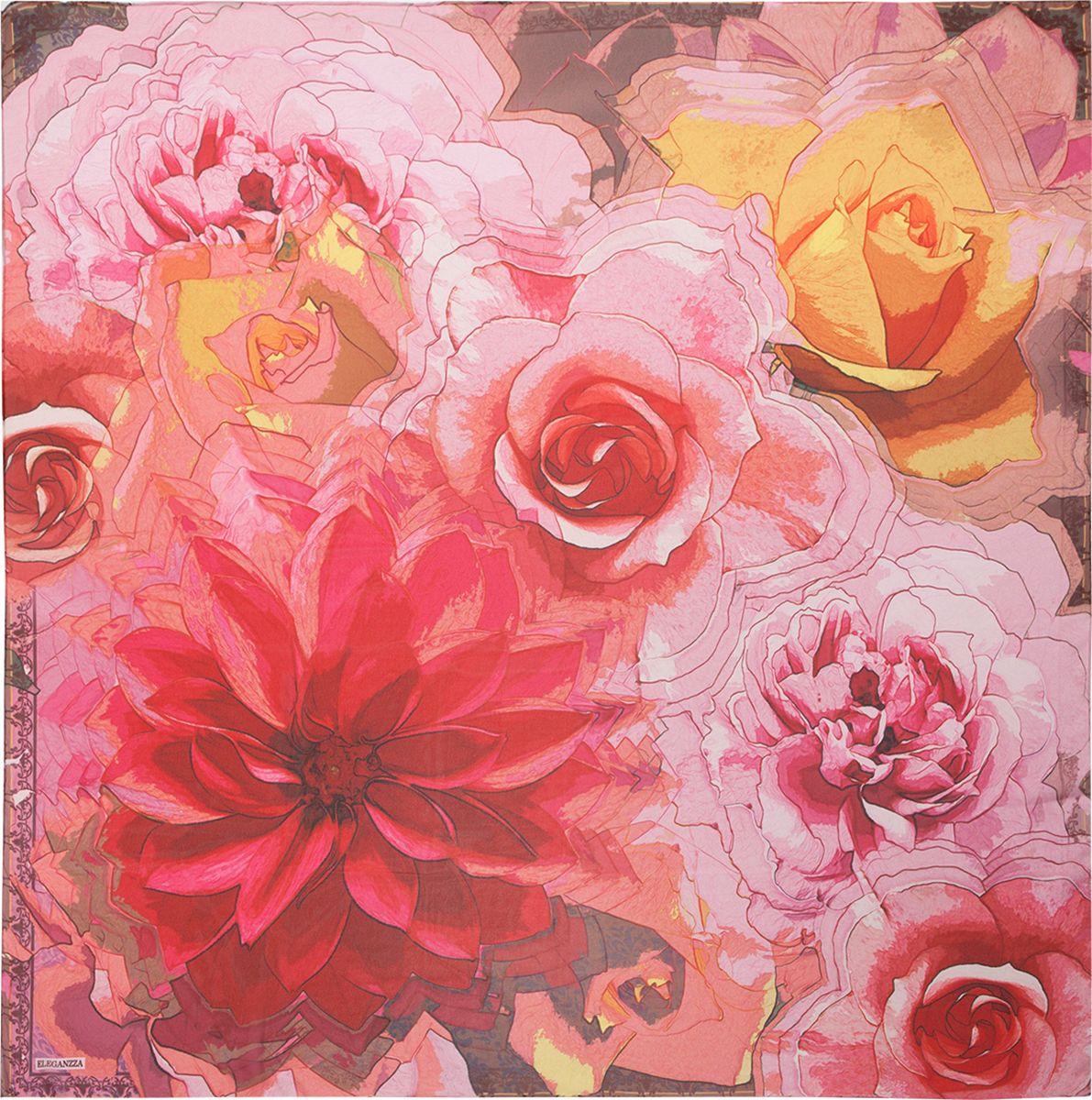 Платок женский Eleganzza, цвет: красный, розовый. D02-1200. Размер 110 см х 110 смD02-1200Платок Eleganzza, выполненный из шелка, идеально дополнит образ современной женщины. Модель оформлена принтом. Классическая квадратная форма позволяет носить платок на шее, украшать им прическу или декорировать сумочку. С таким аксессуаром вы всегда будете выглядеть стильно и модно.