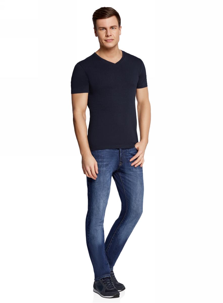 Футболка мужская oodji Basic, цвет: темно-синий. 5B612002M/39230N/7900N. Размер S (46/48)5B612002M/39230N/7900NБазовая футболка с V-образным вырезом горловины и короткими рукавами выполнена из эластичного хлопка.