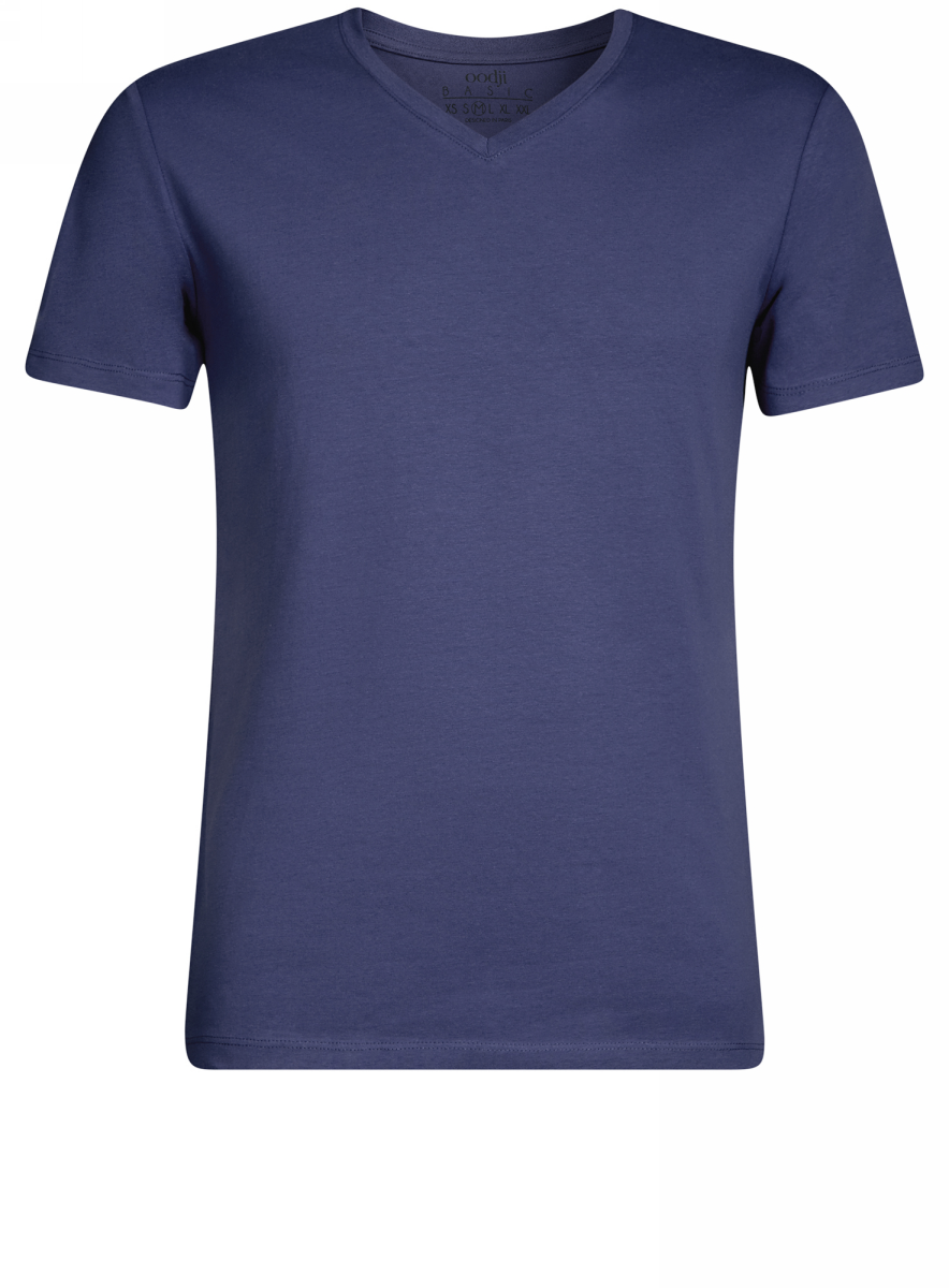 Футболка мужская oodji Basic, цвет: синий. 5B612002M/39230N/7500N. Размер L (52/54)5B612002M/39230N/7500NБазовая футболка с V-образным вырезом горловины и короткими рукавами выполнена из эластичного хлопка.
