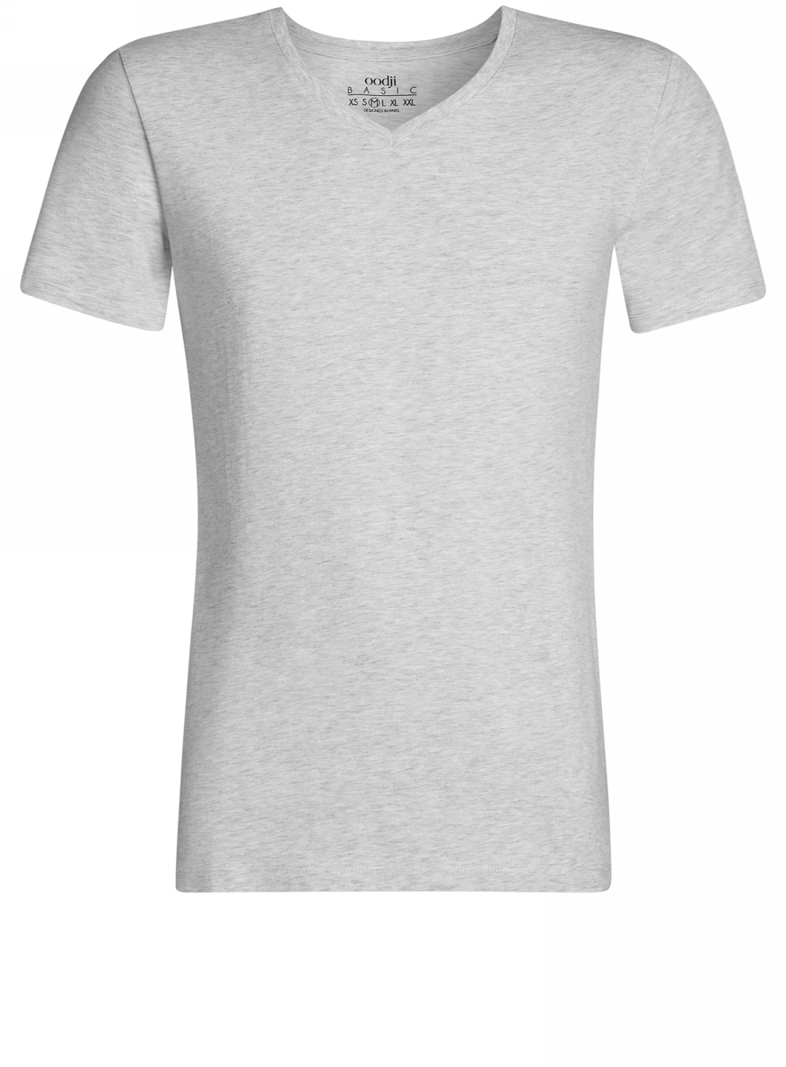 Футболка мужская oodji Basic, цвет: светло-серый меланж. 5B612002M/46536N/2000M. Размер S (46/48)5B612002M/46536N/2000MБазовая футболка с V-образным вырезом горловины и короткими рукавами выполнена из эластичного хлопка с добавлением вискозы.