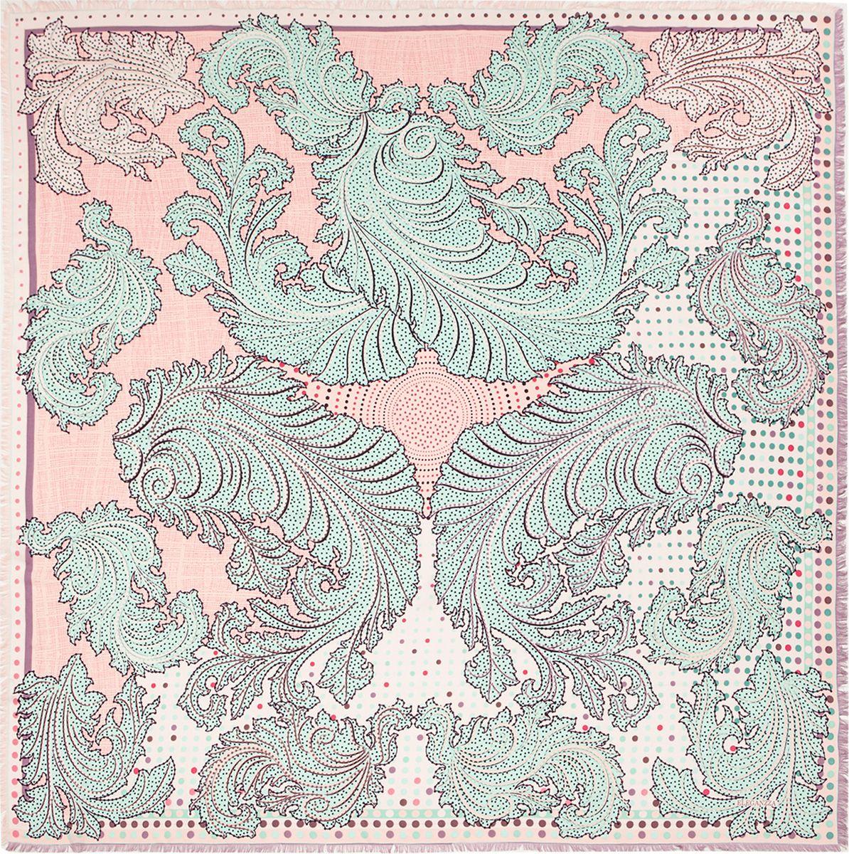 Платок женский Eleganzza, цвет: светло-розовый. D34-1203. Размер 110 см х 110 смD34-1203Платок Eleganzza, выполненный из вискозы и шелка, идеально дополнит образ современной женщины. Модель оформлена принтом с узорами. Классическая квадратная форма позволяет носить платок на шее, украшать им прическу или декорировать сумочку. С таким замечательным аксессуаром вы всегда будете выглядеть женственно и привлекательно.