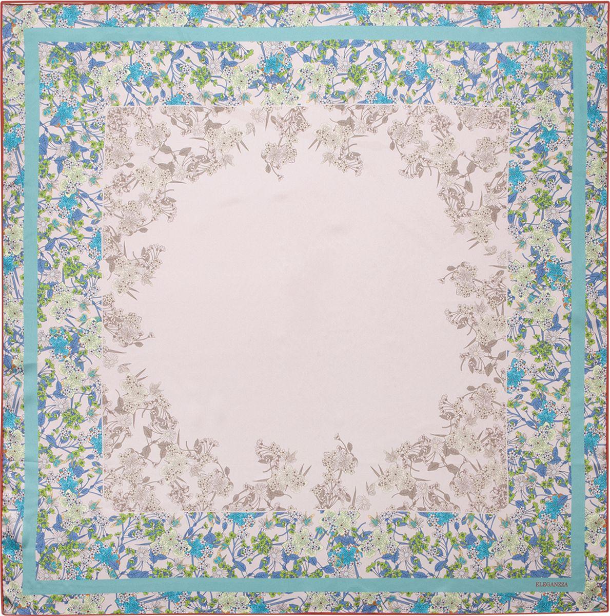 Платок женский Eleganzza, цвет: голубой, серый. E04-7093. Размер 90 см х 90 смE04-7093Платок Eleganzza, выполненный из шелка, идеально дополнит образ современной женщины. Модель оформлена принтом. Классическая квадратная форма позволяет носить платок на шее, украшать им прическу или декорировать сумочку. С таким замечательным аксессуаром вы всегда будете выглядеть женственно и привлекательно.