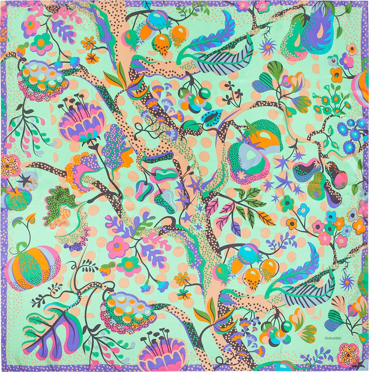 Платок женский Eleganzza, цвет: зеленый, фиолетовый. E05-7159. Размер 110 см х 110 смE05-7159Платок Eleganzza, выполненный из шелка, идеально дополнит образ современной женщины. Модель оформлена принтом. Классическая квадратная форма позволяет носить платок на шее, украшать им прическу или декорировать сумочку. С таким замечательным аксессуаром вы всегда будете выглядеть женственно и привлекательно.