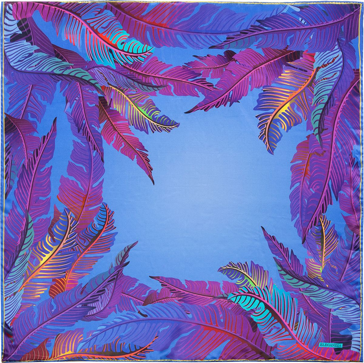 Платок женский Eleganzza, цвет: фиолетовый. KA03-8130. Размер 90 см х 90 смKA03-8130Платок Eleganzza, выполненный из шелка, идеально дополнит образ современной женщины. Модель оформлена принтом. Классическая квадратная форма позволяет носить платок на шее, украшать им прическу или декорировать сумочку. С таким замечательным аксессуаром вы всегда будете выглядеть женственно и привлекательно.