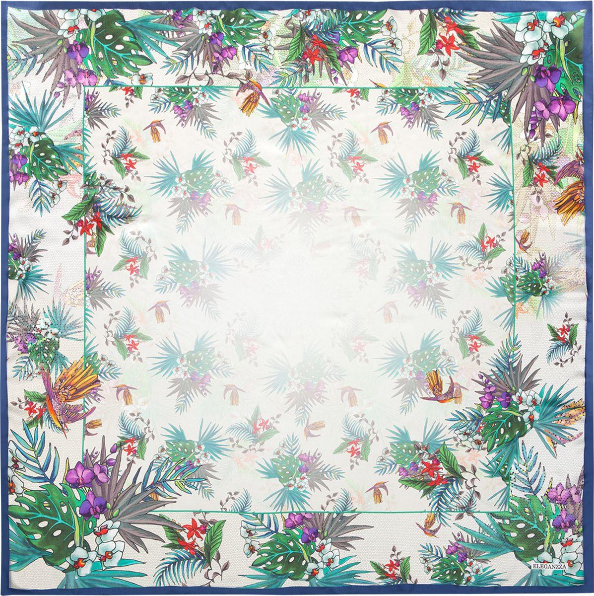 Платок женский Eleganzza, цвет: зеленый, синий. KA04-8131. Размер 90 см х 90 смKA04-8131Платок Eleganzza, выполненный из шелка, идеально дополнит образ современной женщины. Модель оформлена принтом. Классическая квадратная форма позволяет носить платок на шее, украшать им прическу или декорировать сумочку. С таким замечательным аксессуаром вы всегда будете выглядеть женственной и привлекательной.
