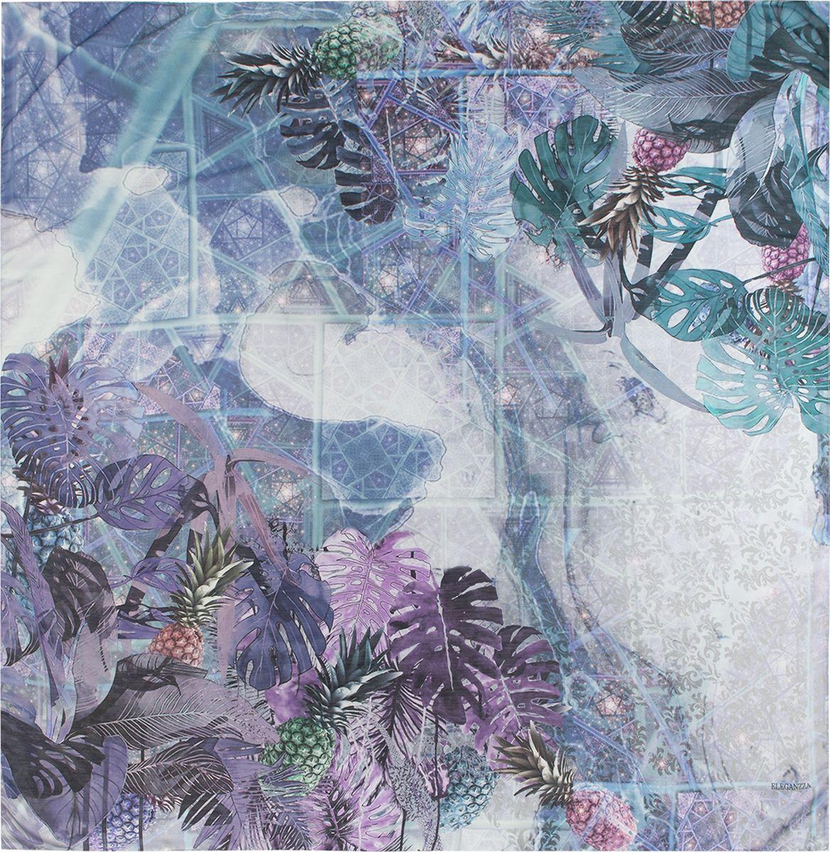 Платок женский Eleganzza, цвет: синий. R22-5034. Размер 120 см х 120 смR22-5034Платок Eleganzza, выполненный из шелка с добавлением хлопка, внесет яркий акцент в ваш образ. Модель оформлена оригинальным принтом.Классическая квадратная форма позволяет носить платок на шее, украшать им прическу или декорировать сумочку.
