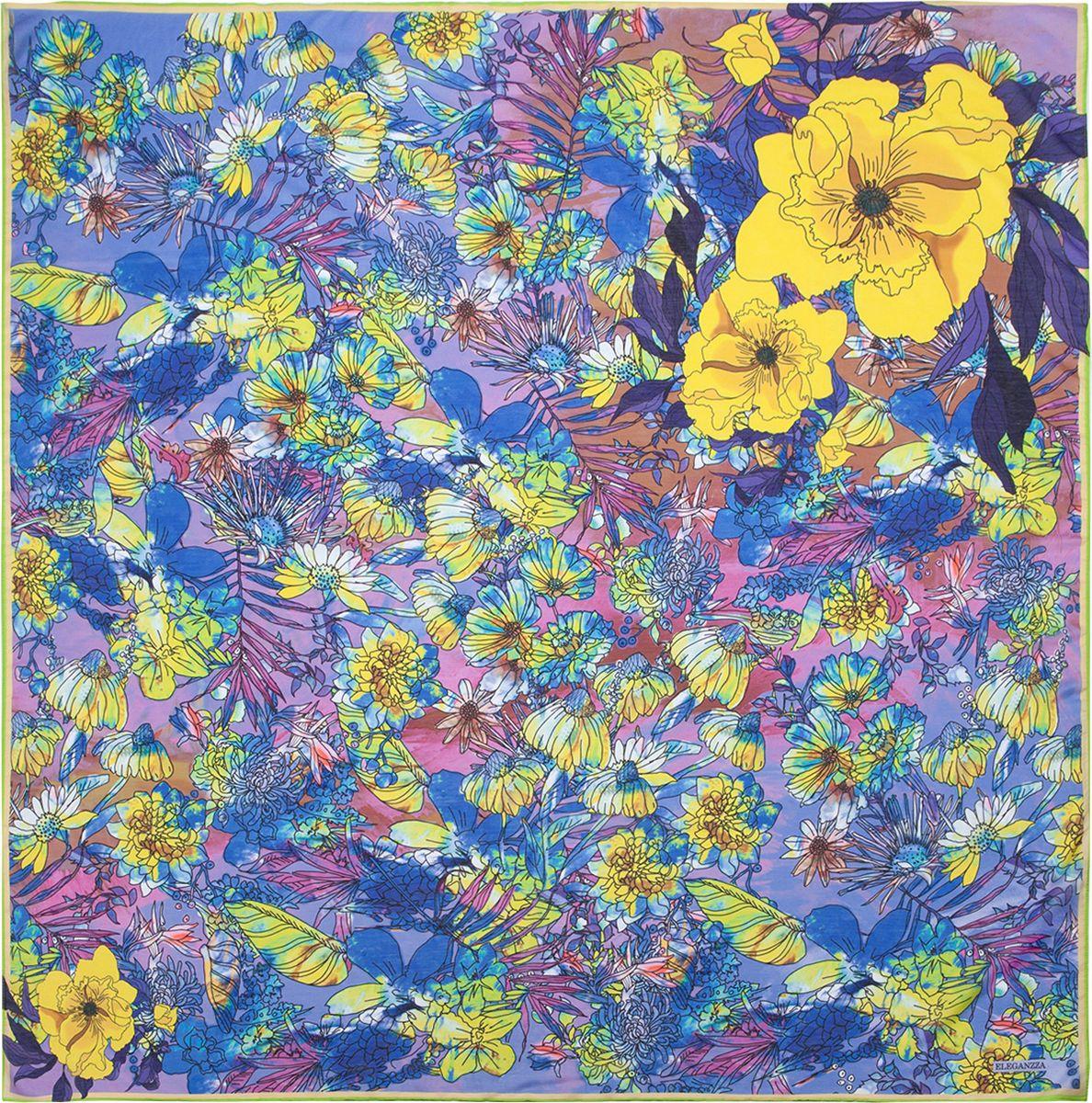 Платок женский Eleganzza, цвет: синий. R22-5039. Размер 120 см х 120 смR22-5039Платок Eleganzza, выполненный из шелка с добавлением хлопка, внесет яркий акцент в ваш образ. Модель оформлена цветочным принтом.Классическая квадратная форма позволяет носить платок на шее, украшать им прическу или декорировать сумочку.