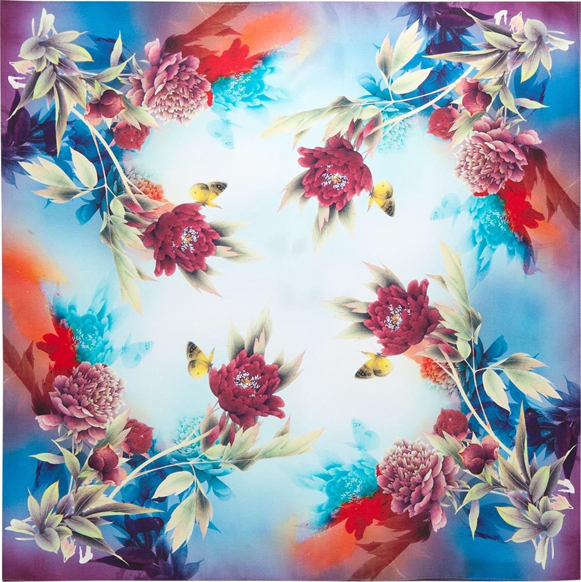Платок женский Eleganzza, цвет: синий. SS03-7870. Размер 55 см х 55 смSS03-7870Платок Eleganzza, выполненный из шелка, внесет яркий акцент в романтический образ. Модель оформлена цветочным принтом.Классическая квадратная форма позволяет носить платок на шее, украшать им прическу или декорировать сумочку.