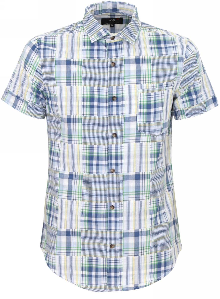 Рубашка мужская oodji Lab, цвет: синий, светло-желтый. 3L410015Q/39594N/7550O. Размер XS-182 (44-182)3L410015Q/39594N/7550OМужская рубашка от oodji выполнена из натурального хлопка. Модель с короткими рукавами застегивается на пуговицы.
