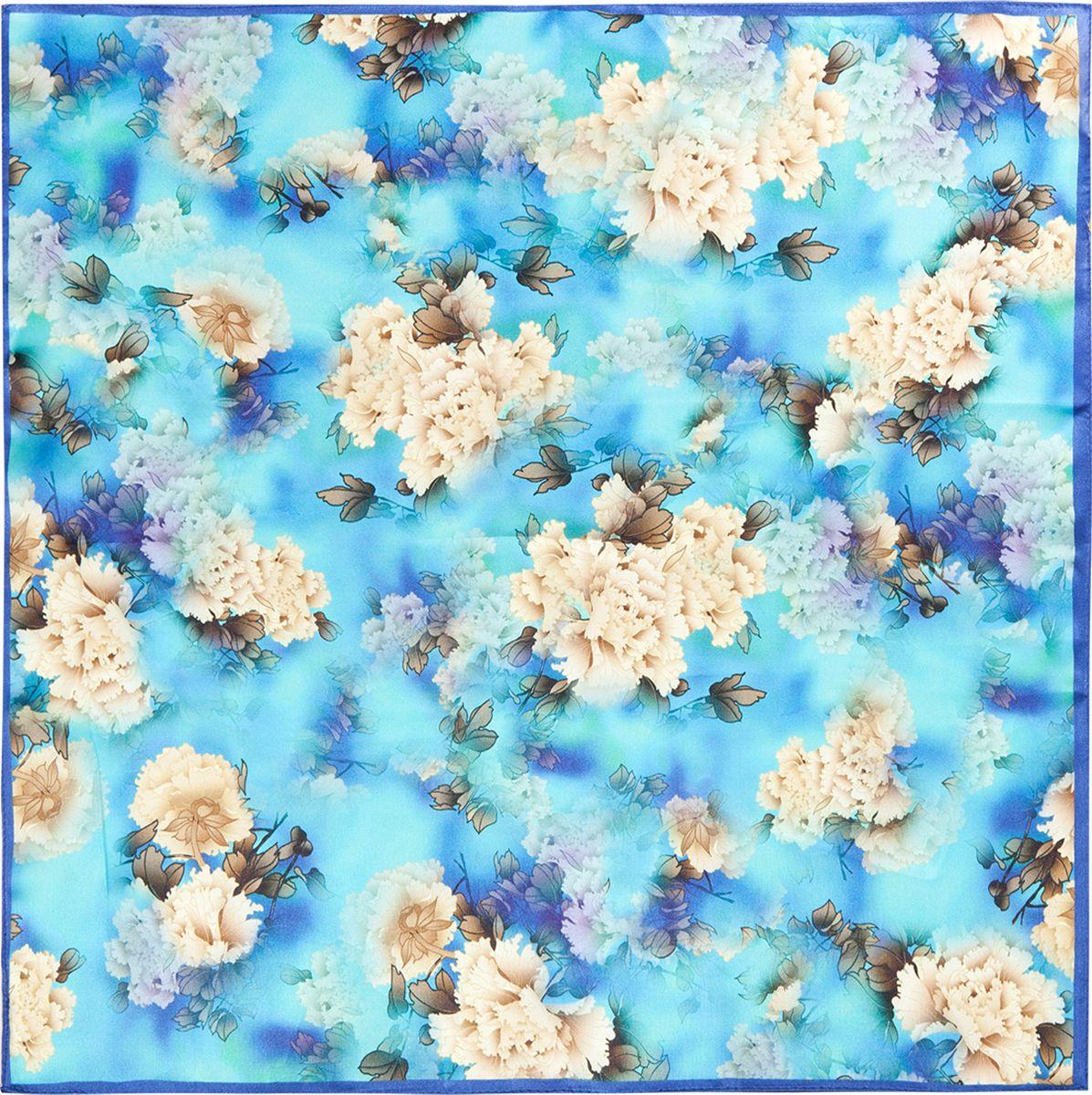 Платок женский Eleganzza, цвет: голубой. SS03-7871. Размер 55 см х 55 смSS03-7871Платок Eleganzza изготовлен из шелка. Модель оформлена цветочным принтом. Использование такого яркого аксессуара позволит создать несколько образов и настроений.