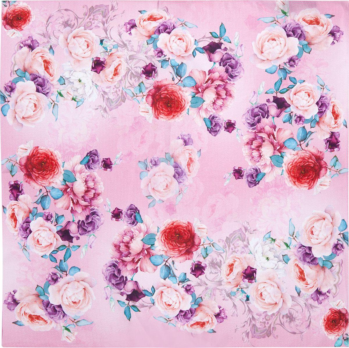 Платок женский Eleganzza, цвет: розовый. SS03-7873. Размер 55 см х 55 смSS03-7873Платок Eleganzza выполнен из шелка. Модель оформлена цветочным принтом. Классическая квадратная форма позволяет носить платок на шее, украшать им прическу или декорировать сумочку.