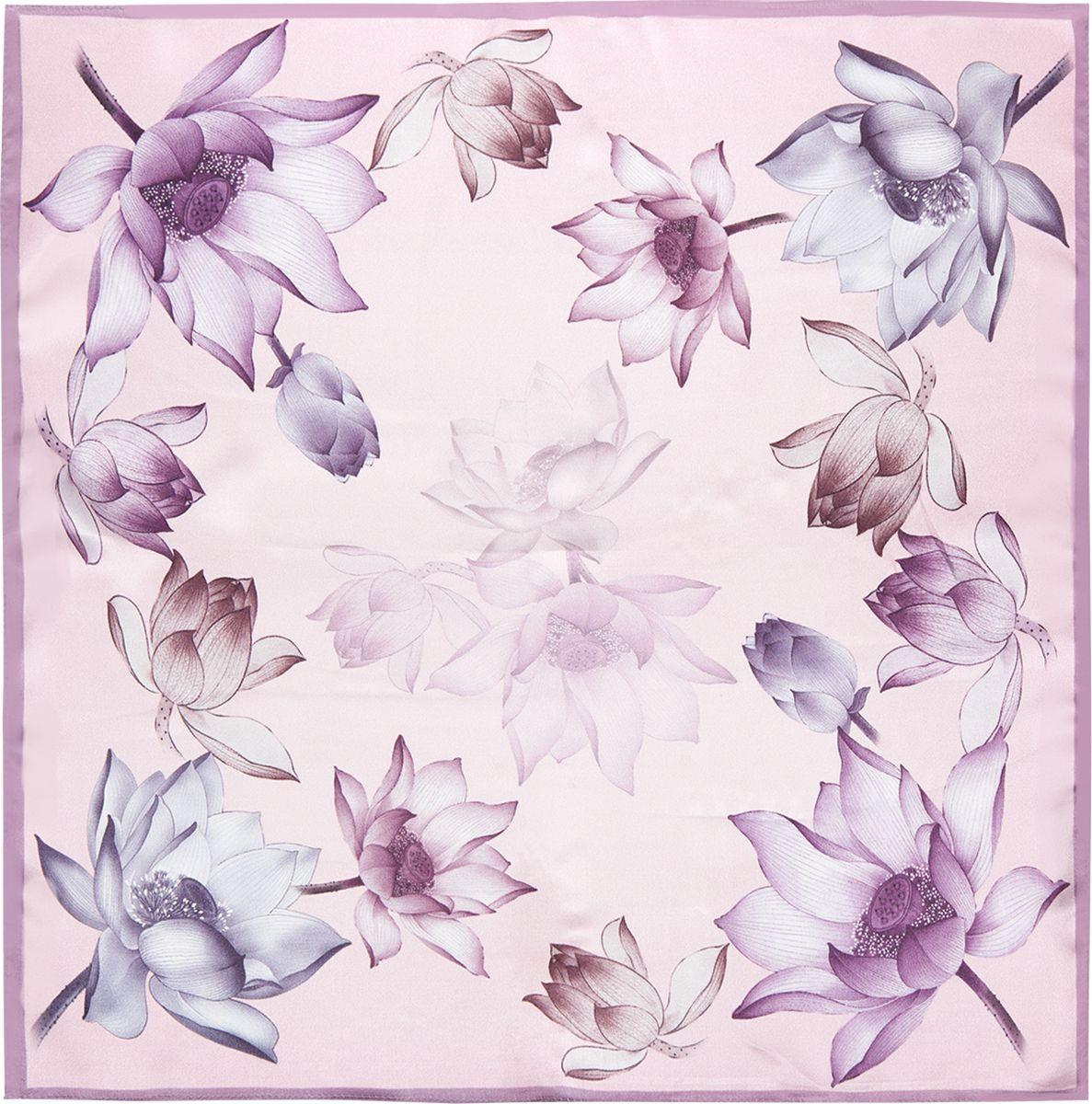 Платок женский Eleganzza, цвет: лиловый. SS03-7876. Размер 55 см х 55 смSS03-7876Платок Eleganzza выполнен из шелка. Модель оформлена цветочным принтом. Классическая квадратная форма позволяет носить платок на шее, украшать им прическу или декорировать сумочку.