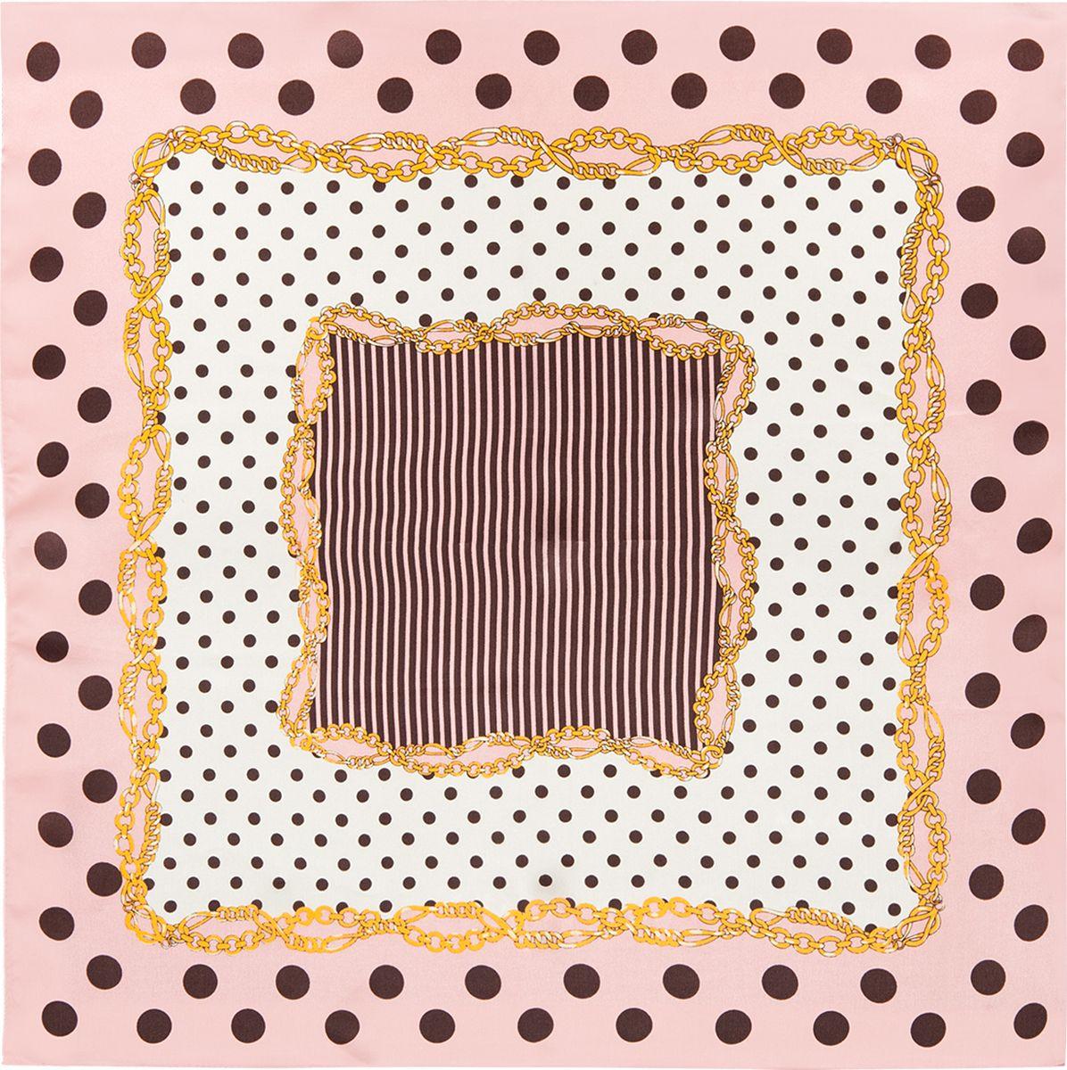 Платок женский Eleganzza, цвет: бежевый. SS03-7878. Размер 53 см х 53 смSS03-7878Платок Eleganzza выполнен из шелка. Модель оформлена контрастным принтом. Классическая квадратная форма позволяет носить платок на шее, украшать им прическу или декорировать сумочку.