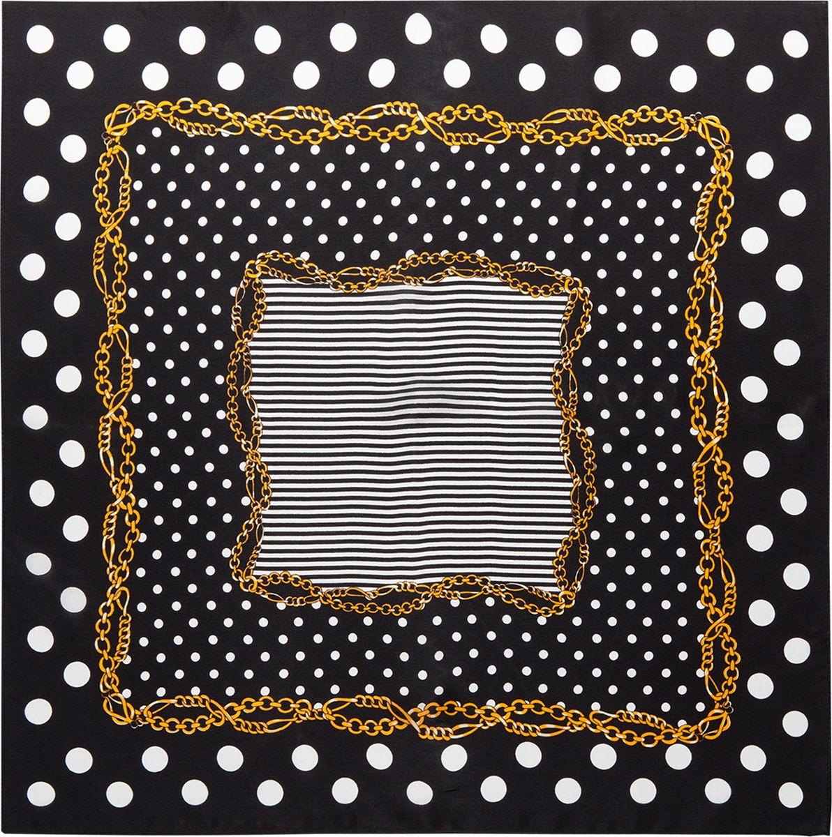 Платок женский Eleganzza, цвет: черный, белый. SS03-7878. Размер 53 см х 53 смSS03-7878Платок Eleganzza выполнен из шелка. Модель оформлена контрастным принтом. Классическая квадратная форма позволяет носить платок на шее, украшать им прическу или декорировать сумочку.